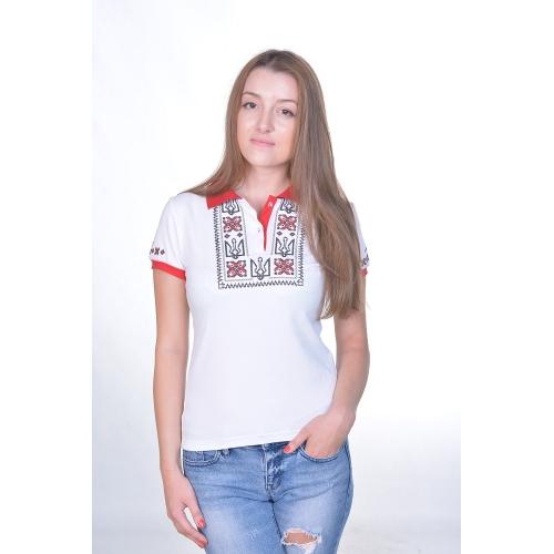 Поло вишиванка «Слава нації» біла жіноча