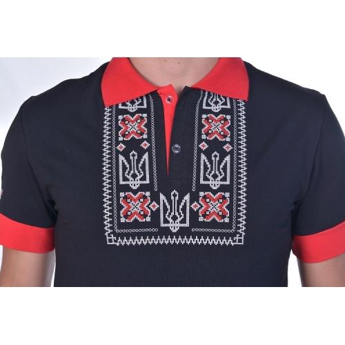 Поло вишиванка «Героям Слава» чоловіча чорна